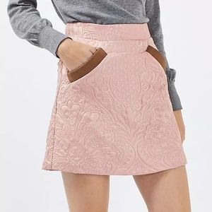 Topshop   Quilted Pelmet Pink Mini Skirt Size 8